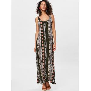 Bohemian Tribal Print Backless Long Dress -