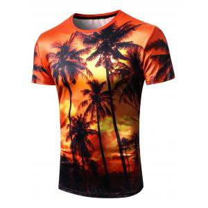 3D Coconut Tree Print Hawaii Short Sleeve T-shirt -