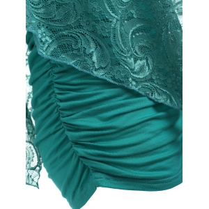 One Shoulder Lace Overlay T-shirt -