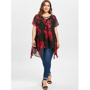 Floral Print Plus Size Short Sleeve Blouse -