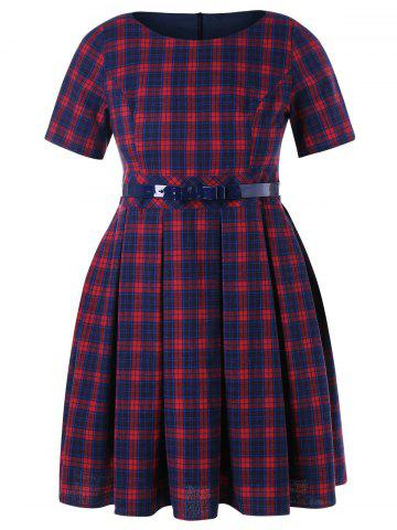 Unique Plaid Print Plus Size Fit and Flare Dress
