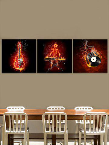 Best Fire Guitar Abstract Canvas Prints Art Home Decor 3Pcs