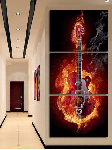 Shop Flame Guitar Printed Unframed Split Canvas Paintings