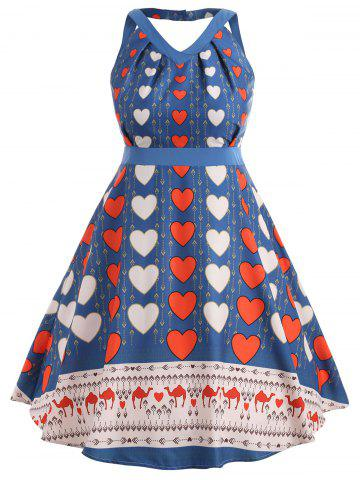 Buy Plus Size Heart Print Sleeveless Dress