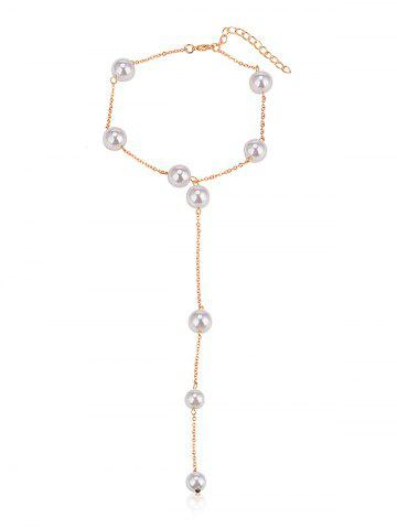 Shop Simple Faux Pearl Alloy Chain Necklace