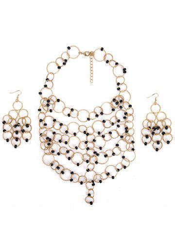 Online Metal Circles Beads Necklace with Earring Set