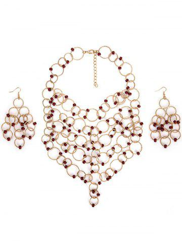 Outfits Metal Circles Beads Necklace with Earring Set