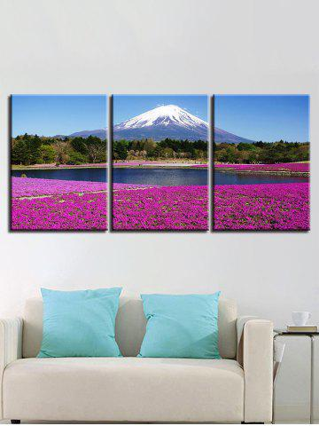 Snow Mountain Forest Lakeside Lavender Field Impressions sur toile