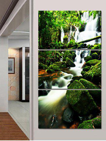 Outfits Mountain Stream in Forest Canvas Wall Art Paintings 3Pcs