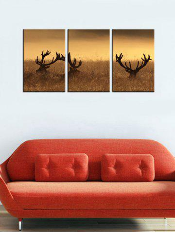 Online Deer Stag With Long Antler Wall Art Painting 3Pcs