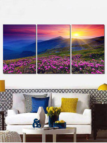 Affordable Sunrise Flower Mountain Canvas Print Wall Art Decor 3Pcs