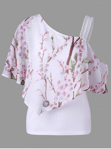 Chic Skew Neck Floral Ruffled Blouse