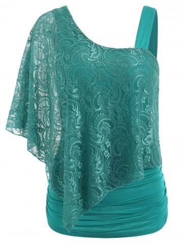 Fashion One Shoulder Lace Overlay T-shirt