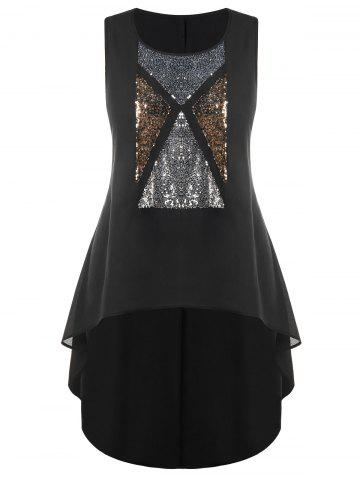 Outfit Plus Size Sleeveless Sparkly High-low Top