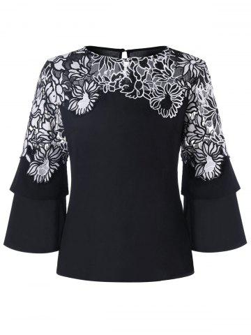 Unique Embellished Flare Sleeve Blouse