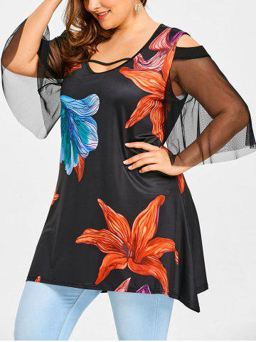 Store Mesh Panel Plus Size Handpainted Floral T-shirt