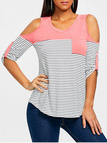 Cheap Roll Up Sleeve Cold Shoulder T-shirt