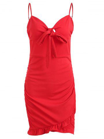 Hot Spaghetti Strap Knotted Asymmetrical Bodycon Dress