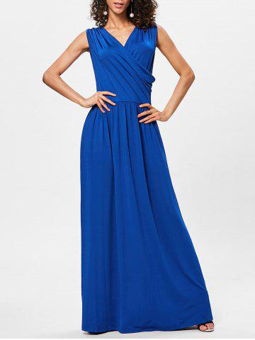 Cheap Surplice Neck Pleated Maxi Dress