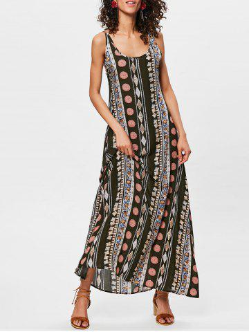 Unique Bohemian Tribal Print Backless Long Dress