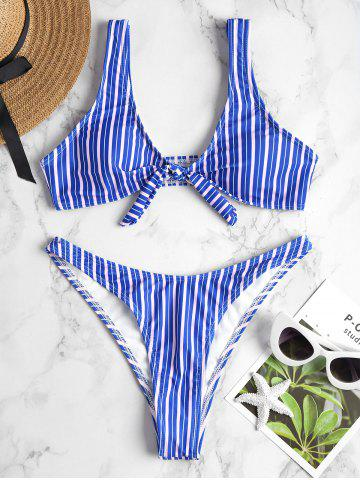 Discount Knot Striped High Cut Bikini