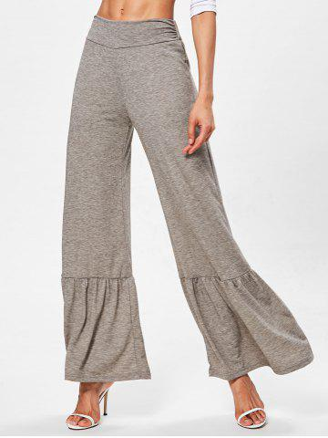 Affordable Flounce Trim Wide Leg Pants