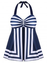 Striped Print Plus Size Skirted Tankini -