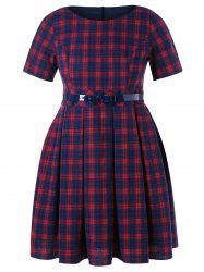 Plaid Print Plus Size Fit and Flare Dress -