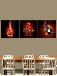 Fire Guitar Abstract Canvas Prints Art Home Decor 3Pcs -