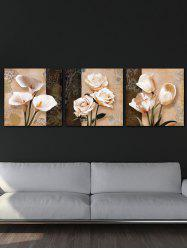 Wall Decor Flowers Printed Split Canvas Paintings -