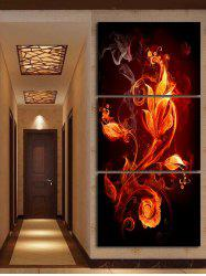 Flame Flower Printed Canvas Paintings Wall Decoration -