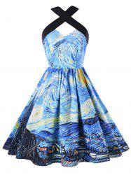 Galaxy Graphic Vintage Swing Dress -