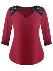 Plus Size Lace Insert V Neck Blouse -