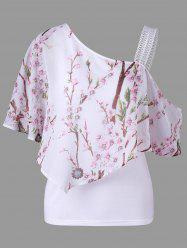 Skew Neck Floral Ruffled Blouse -