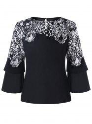 Embellished Flare Sleeve Blouse - Black - Xl