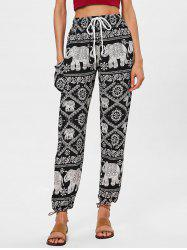 High Rise Ethnic Print Beach Pants -