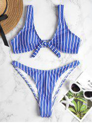 Knot Striped High Cut Bikini -
