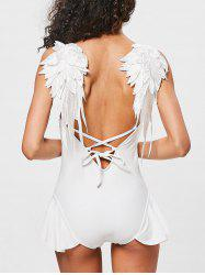 Flounce Applique Wing Low Back Swimsuit -
