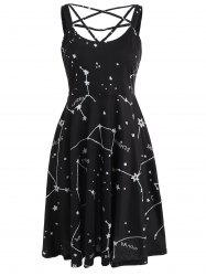 Constellation Print Sleeveless Dress -