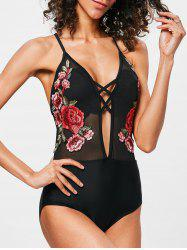 Cross Back Mesh Embroidery Swimwear -