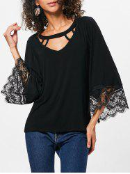Lace Trim Flare Sleeve T-shirt -