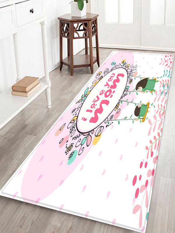 Cheap Cartoon Mother and Kid Swing Print Floor Rug