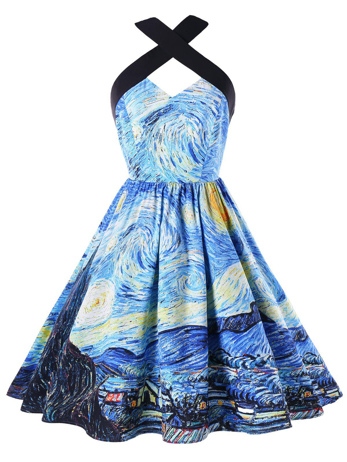 Fancy Galaxy Graphic Vintage Swing Dress