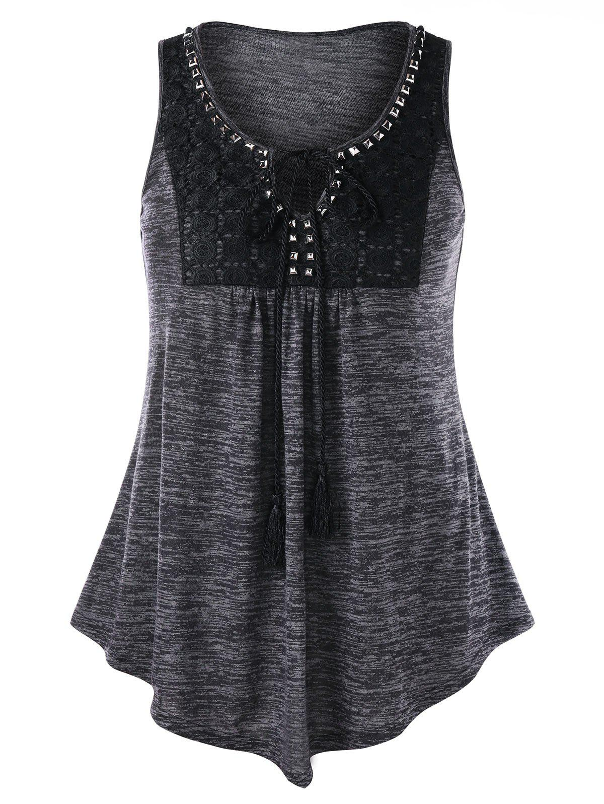 Cheap Plus Size Marled Keyhole Neck Tank Top