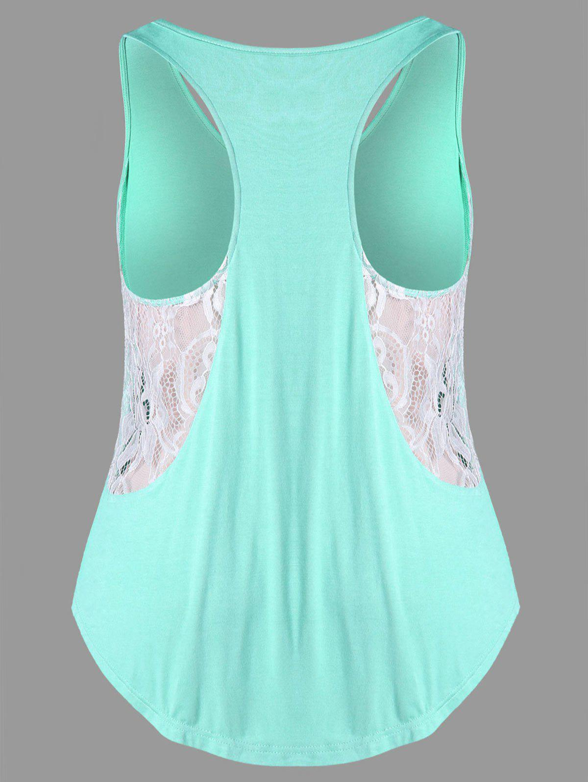 Fancy Lacy Insert Plus Size Swing Tank Top