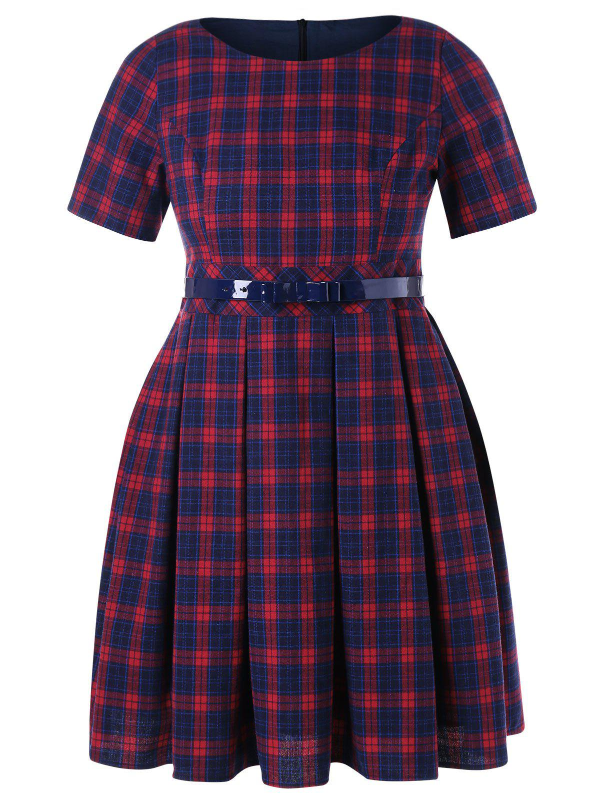 Shop Plaid Print Plus Size Fit and Flare Dress