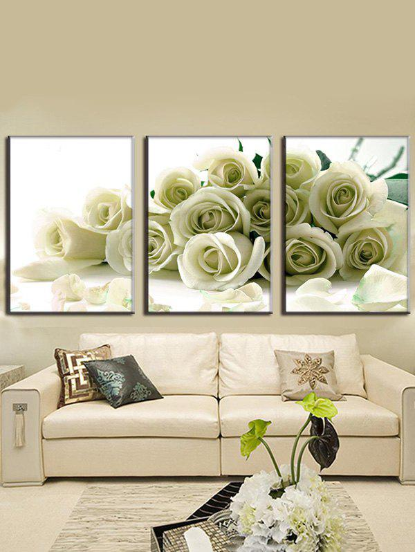 Outfits Rose Flowers Printed Wall Art Split Canvas Paintings