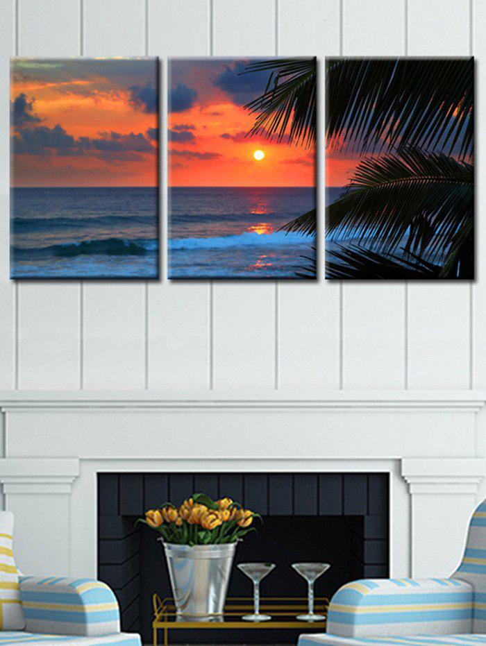 New Seaside Sunset Glow Printed Wall Decor Canvas Paintings