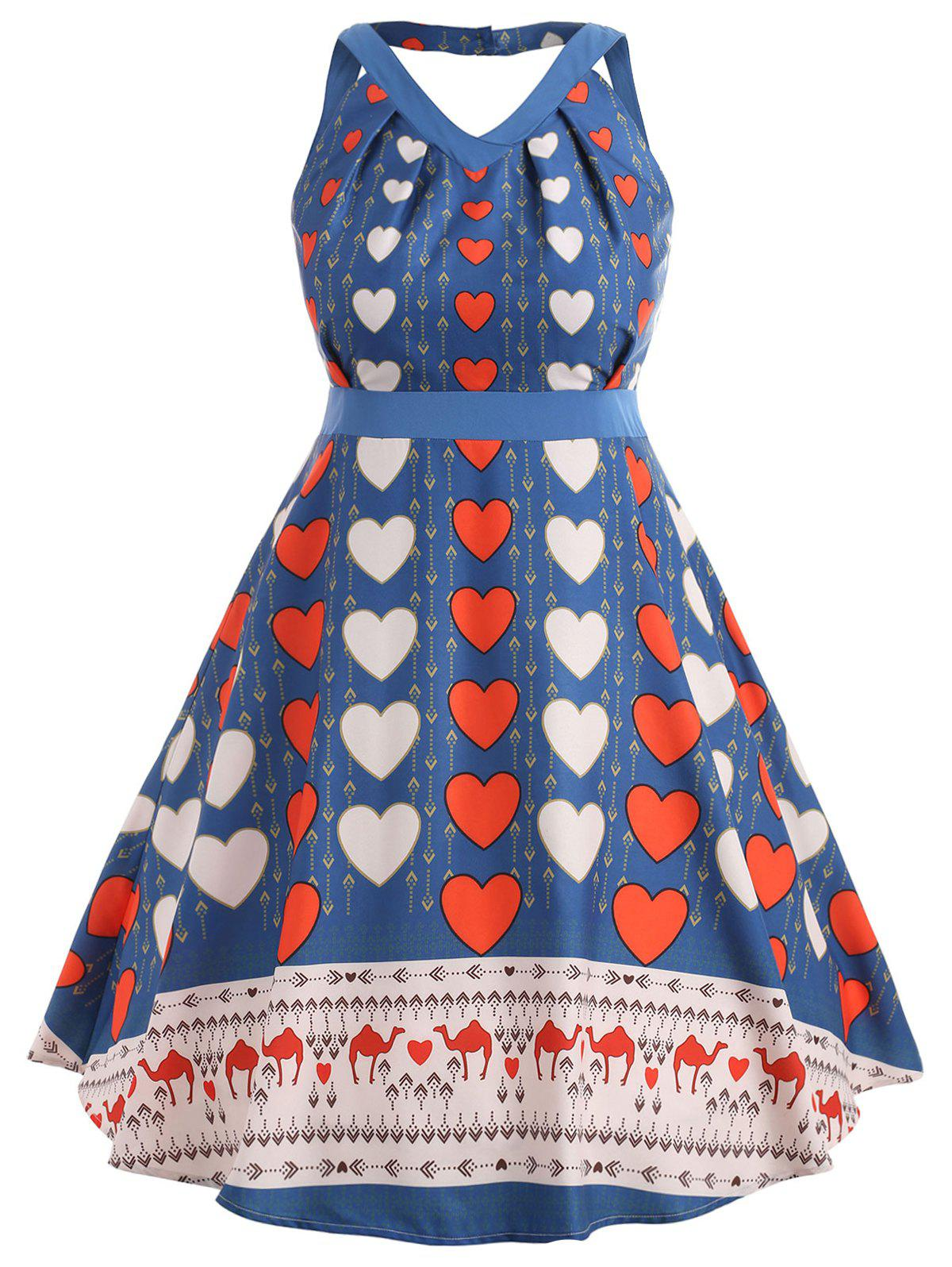 Store Plus Size Heart Print Sleeveless Dress