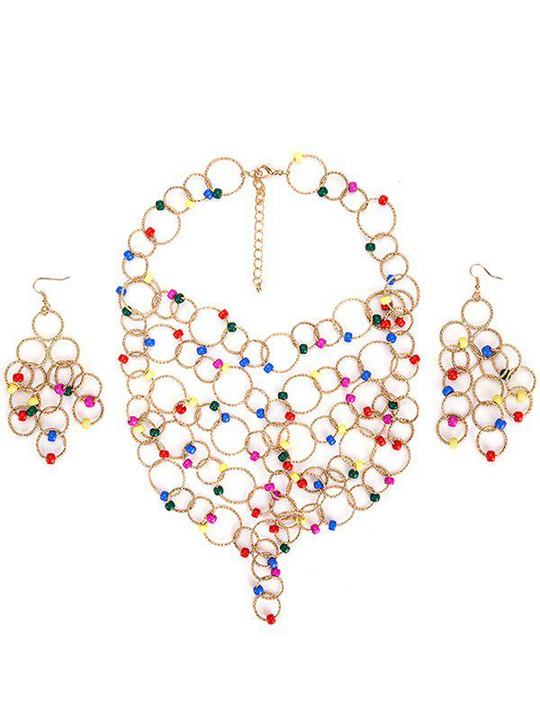 Store Metal Circles Beads Necklace with Earring Set